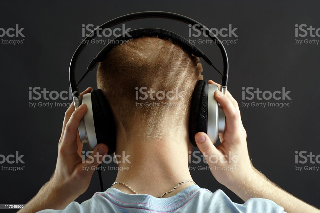 Head and headphones royalty-free stock photo