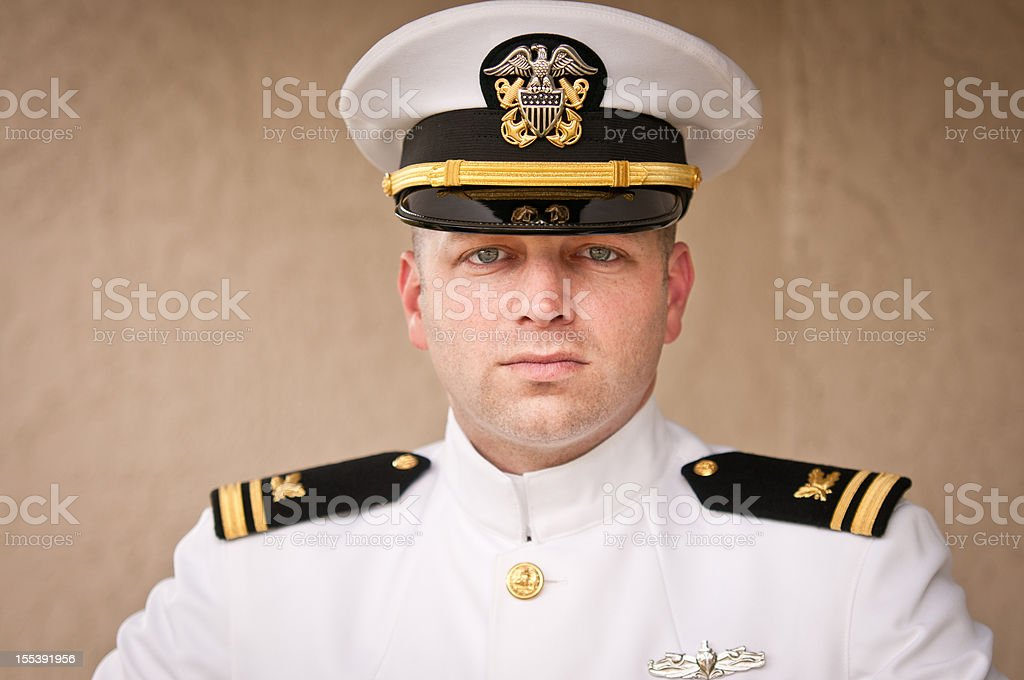 Head and Shoulder Portrait of  Caucasian Naval Officer in Uniform stock photo