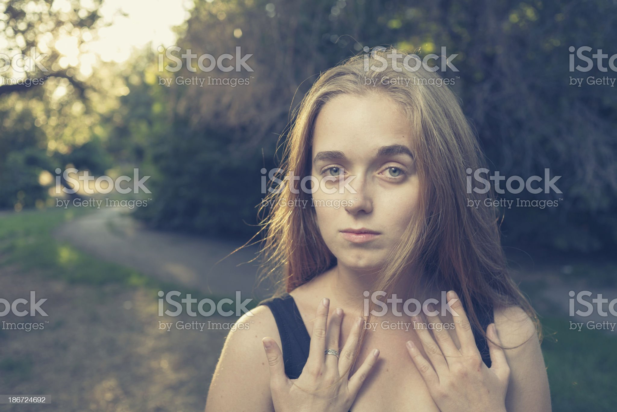 head and shoulders blond girl outdoor royalty-free stock photo