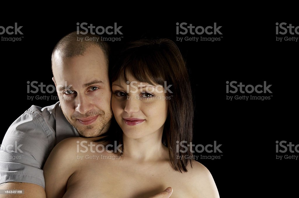 Head and shoulders of happy young couple. royalty-free stock photo