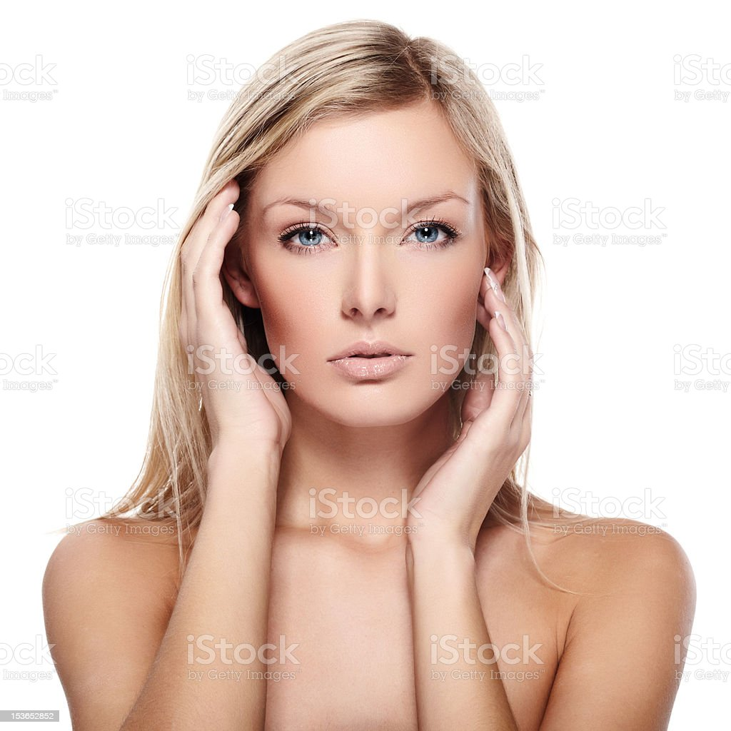 Head and shoulders portrait of beautiful model royalty-free stock photo
