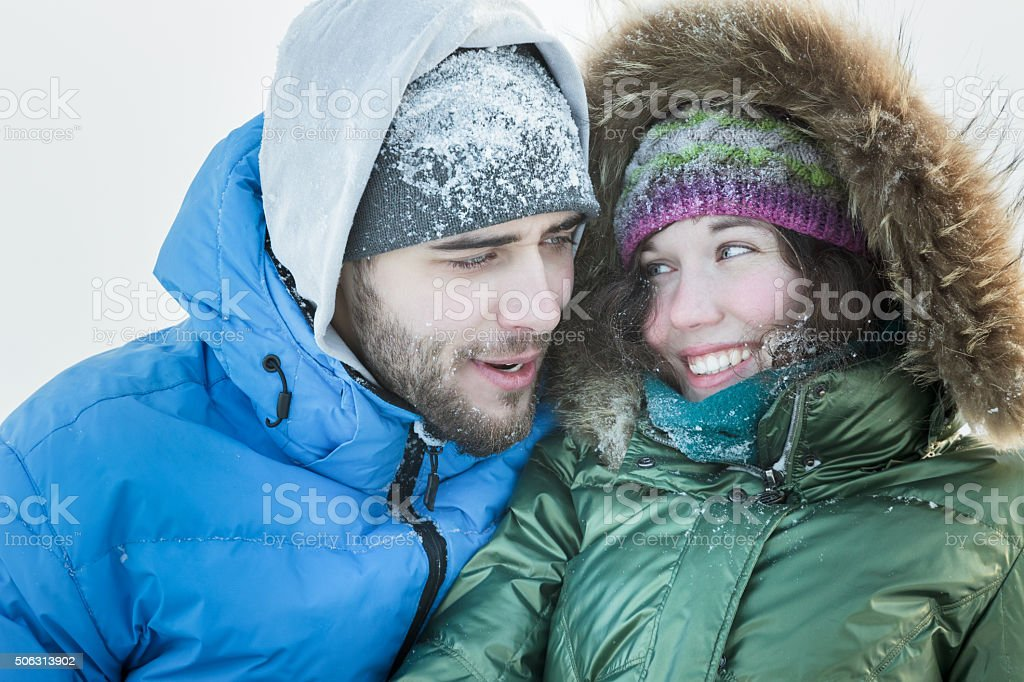 Head and shoulders portrait of happy young couple together stock photo