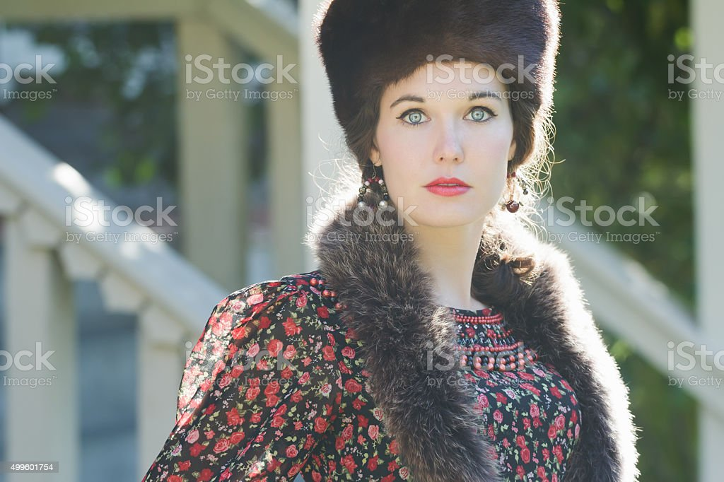 Head and shoulders portrait of Russian beautiful woman stock photo