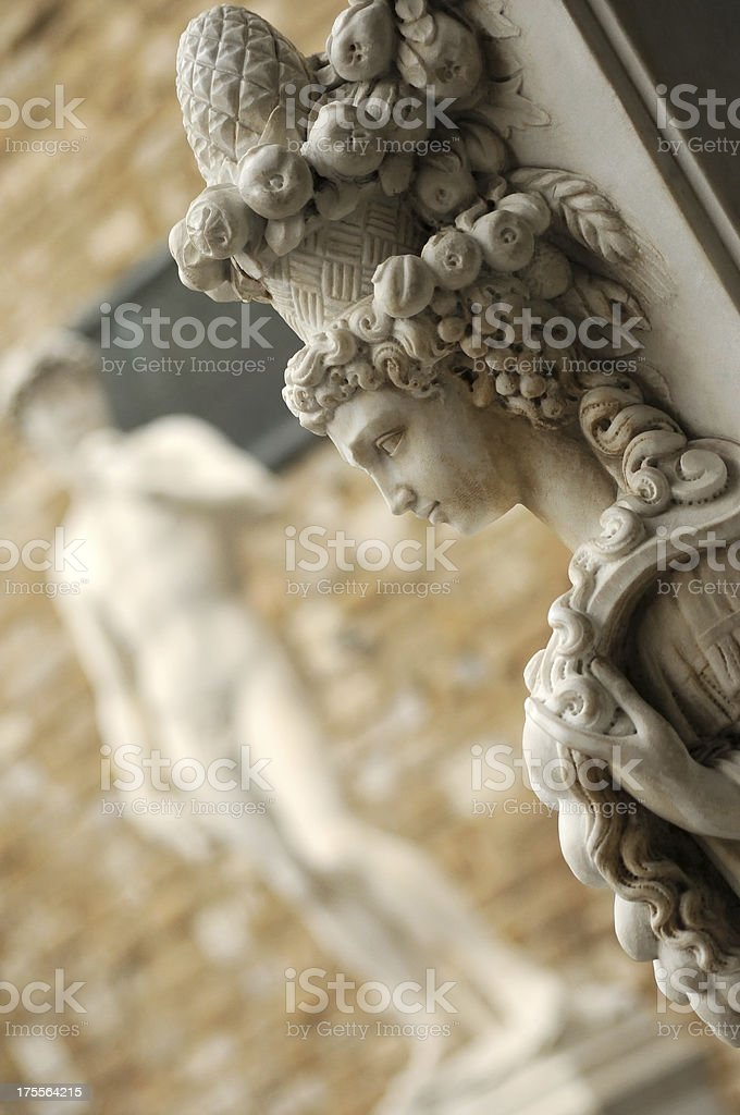 head antique with Statue of David in Florence royalty-free stock photo