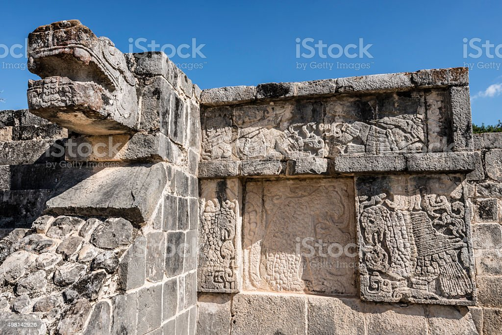 XXXL: Head Carving on Mayan Pyramid in Chichen Itza, Mexico stock photo