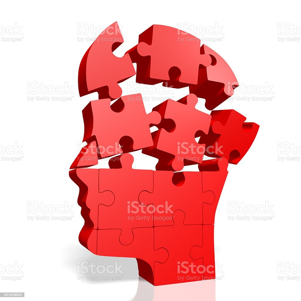 3D head concept stock photo