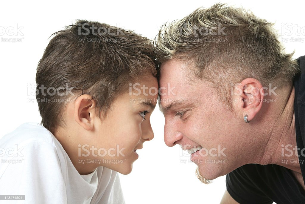 Head Father and Son stock photo