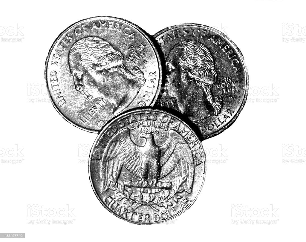 Head Head Tails - Three Quarters on White Table stock photo