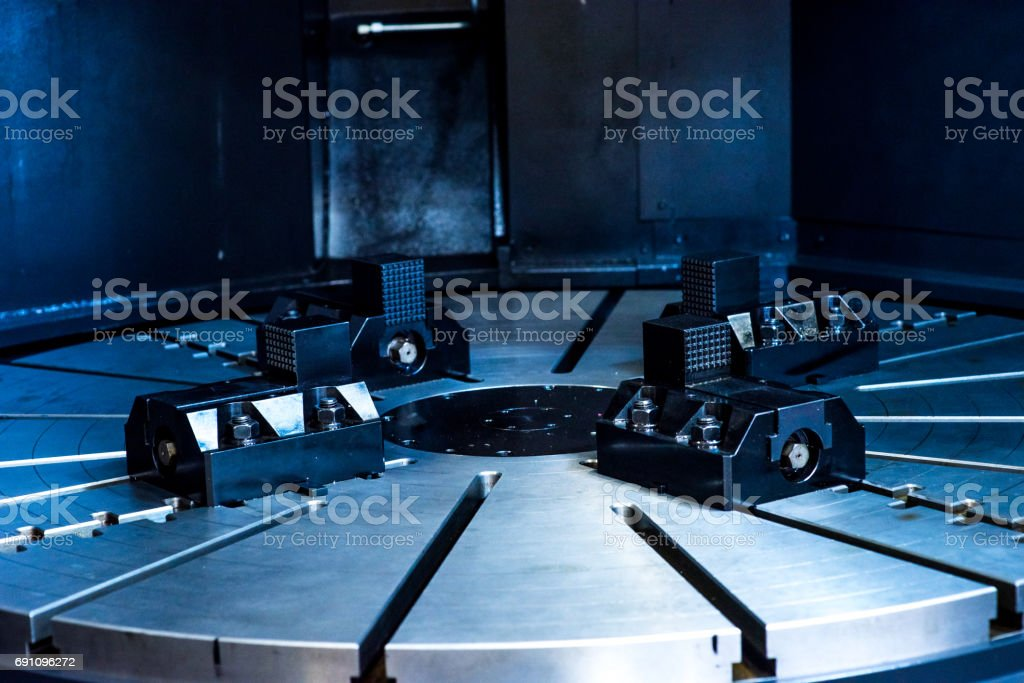 CNC Head in Milling and Machining Center Machine stock photo