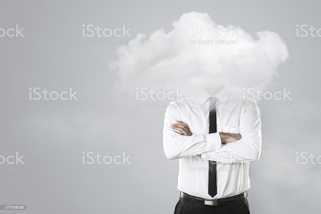 A head in the clouds concept b stock photo