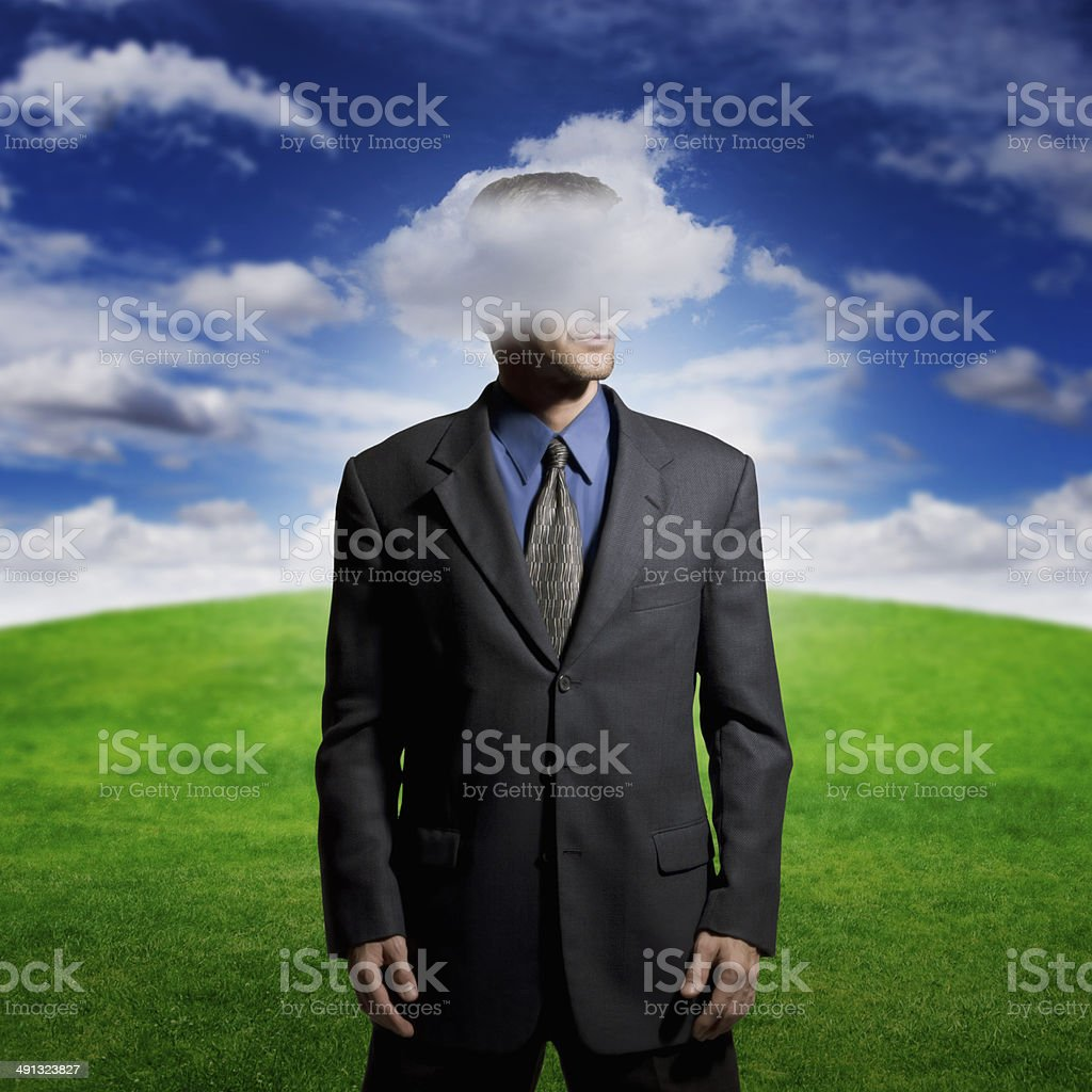 Head in the clouds stock photo