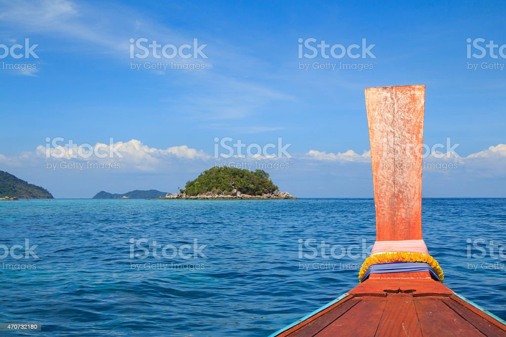 Head long tail boat in Andaman sea royalty-free stock photo