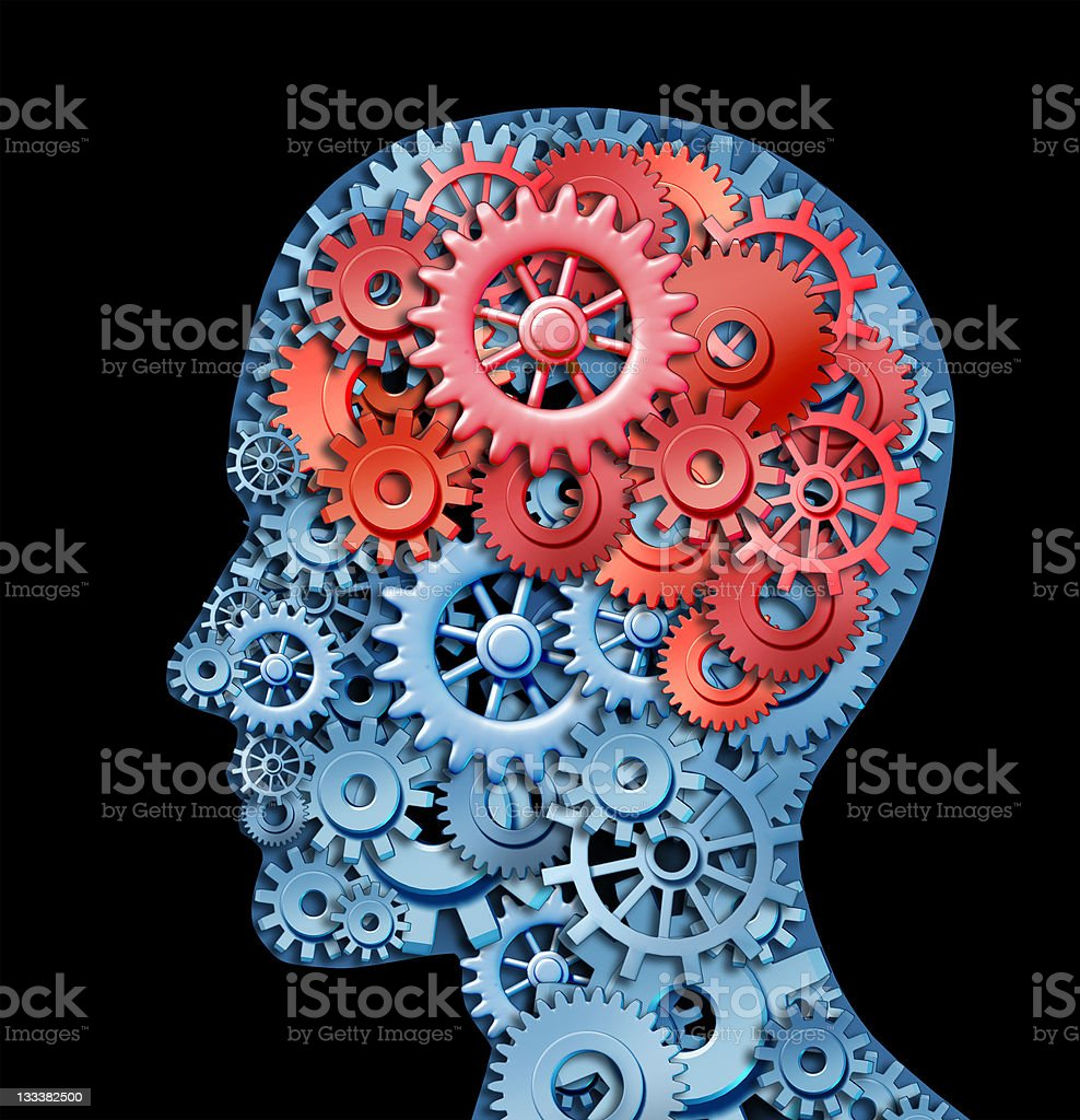 Head made of gears against black background stock photo