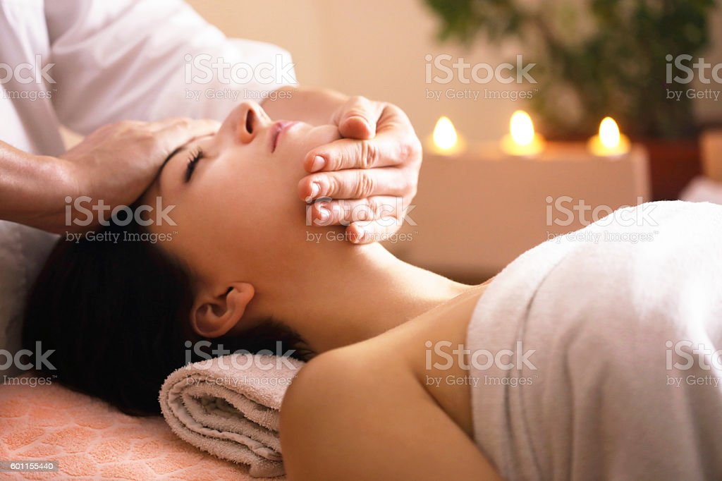 Head massage stock photo