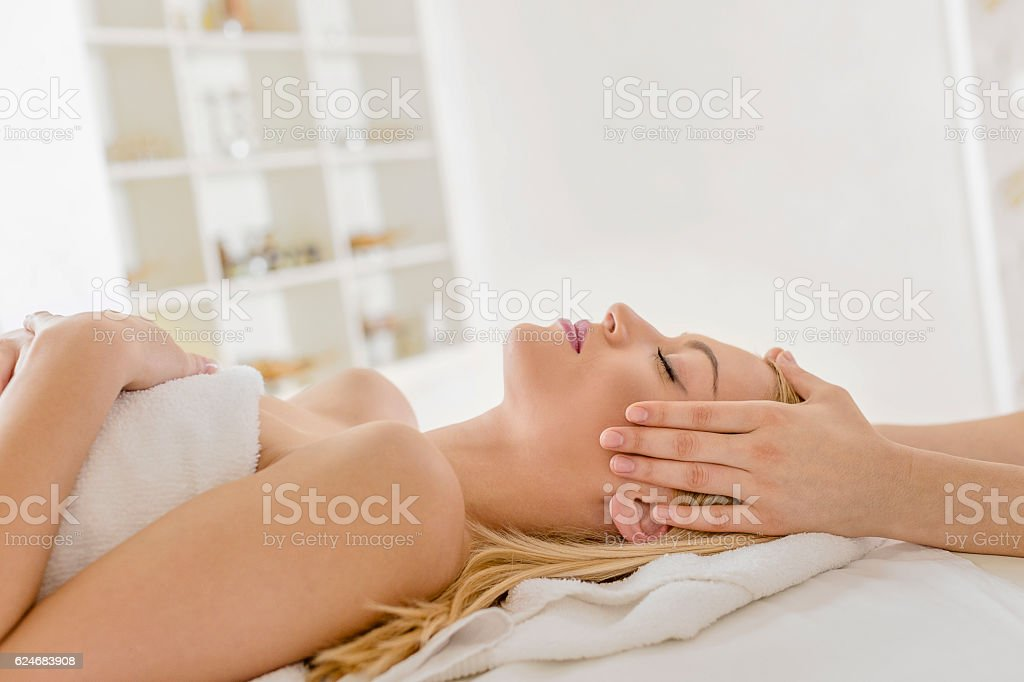 Head massage stock photo