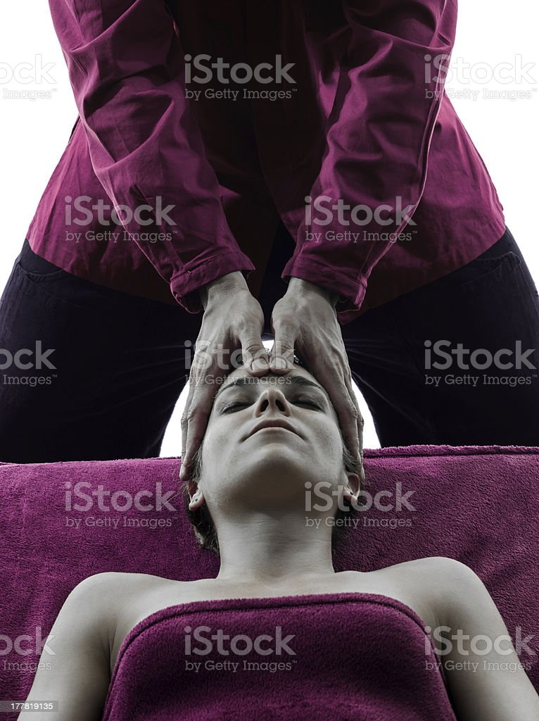 head massage therapy silhouette royalty-free stock photo