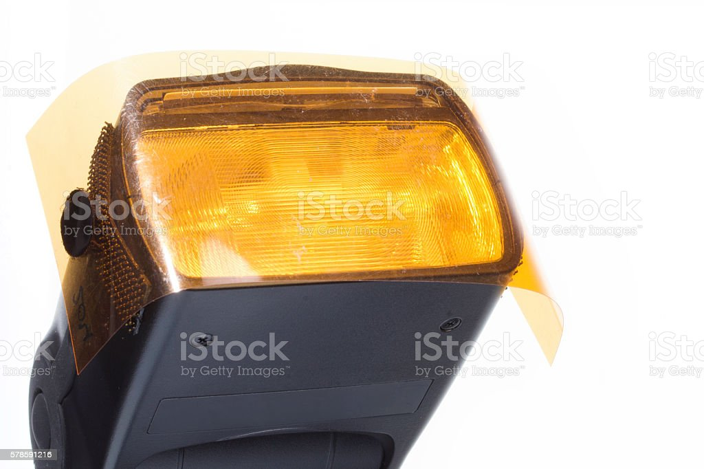 Head of a camera flash. stock photo