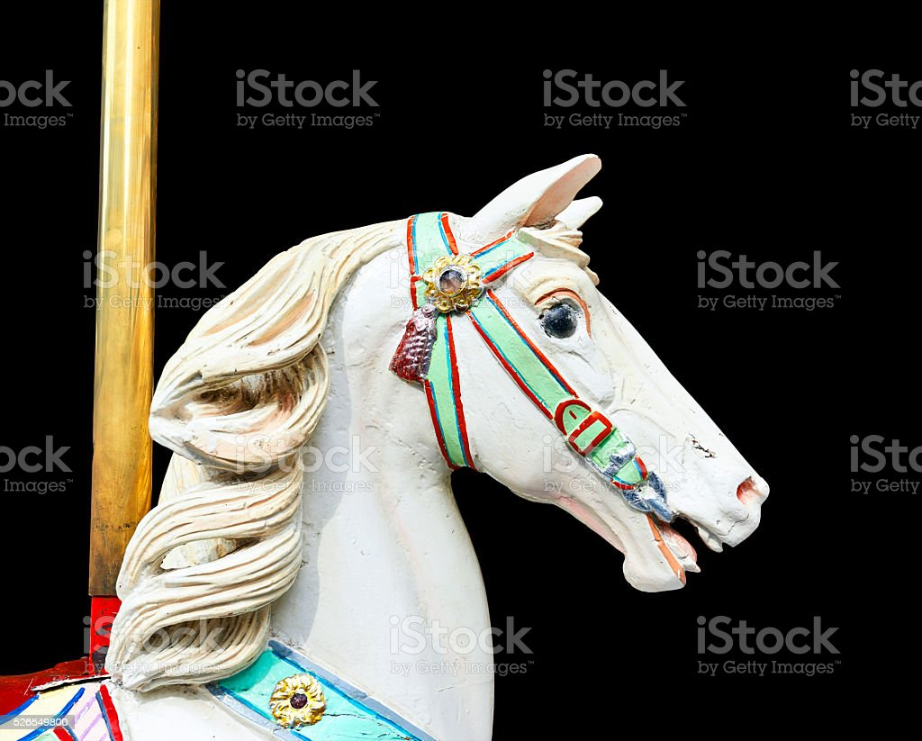 Head of a classic carousel horse.  clipping path stock photo
