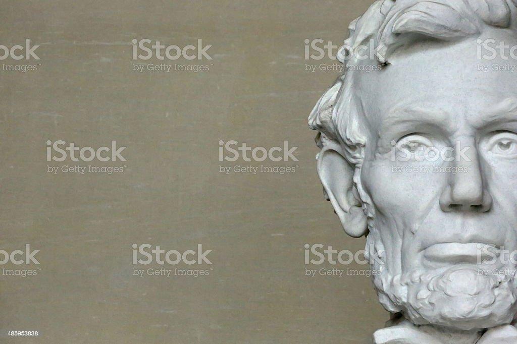 Head of Abraham Lincoln in Washington D.C. stock photo