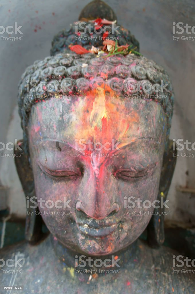 head of buddha in temple Swayambhu stock photo