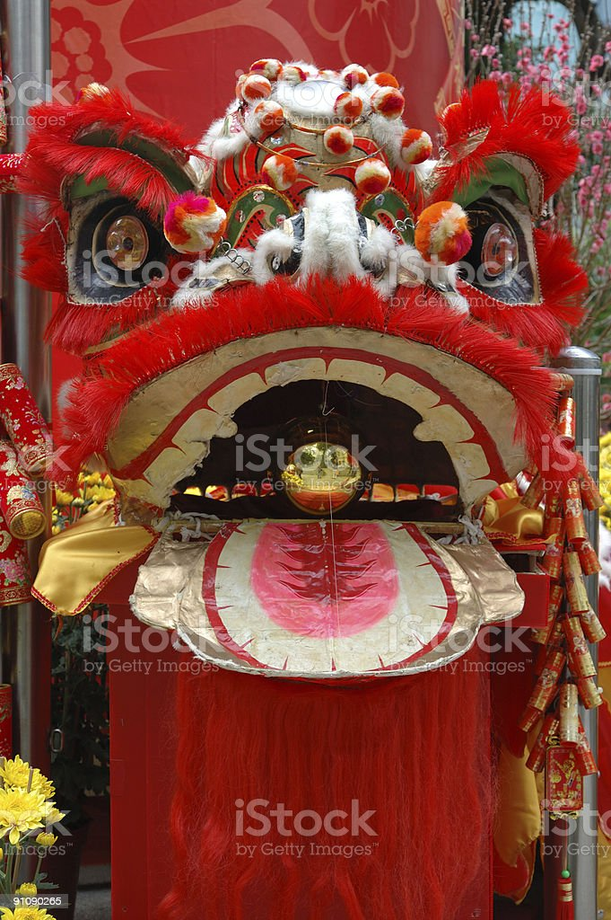 Head of chinese lion in red stock photo