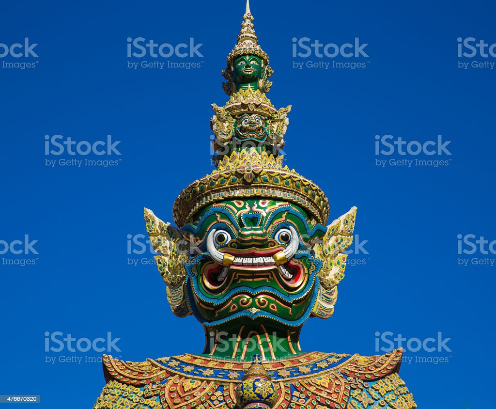 Head of Giant statue in Wat Pra Kaew stock photo