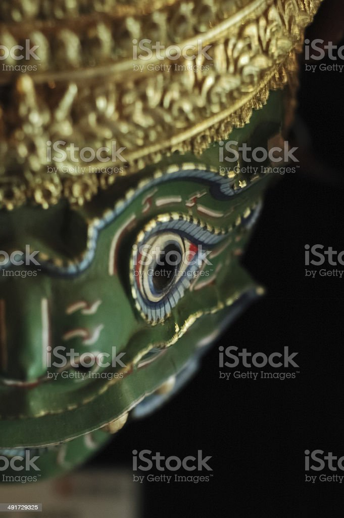 head of green anciant giant in Ramayana legend. stock photo