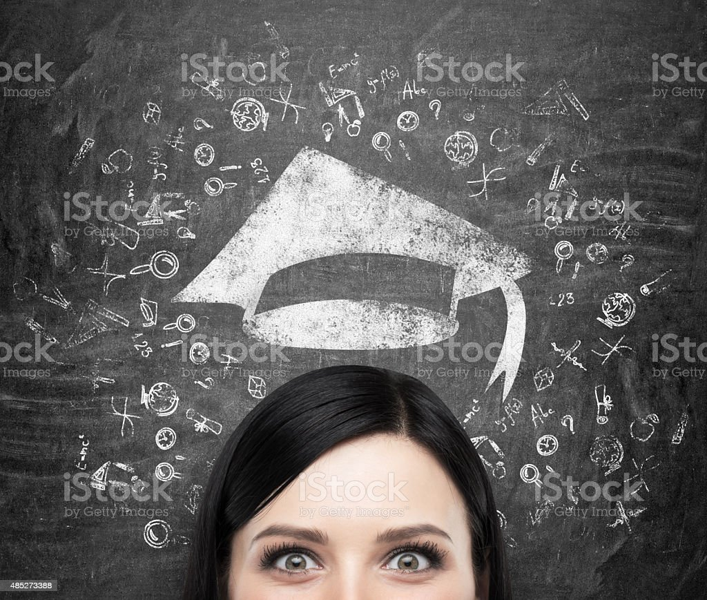 head of lady who is thinking about university education stock photo