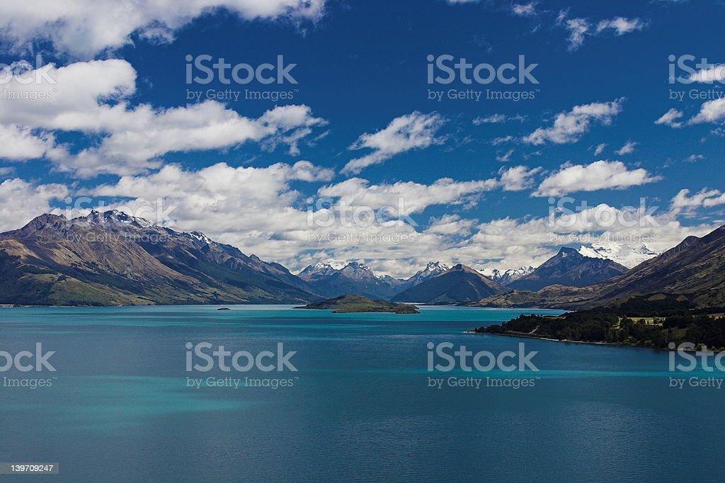 Head of Lake Wakatipu, New Zealand stock photo