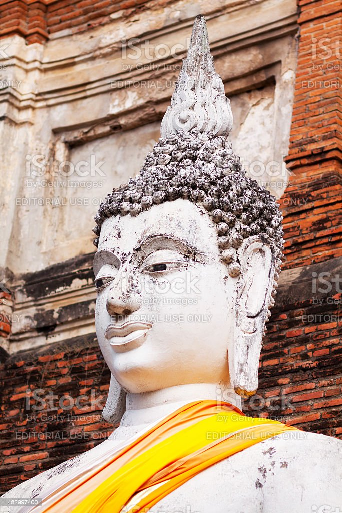 Head of large buddha in Wat Yai Chai Mongkhon stock photo