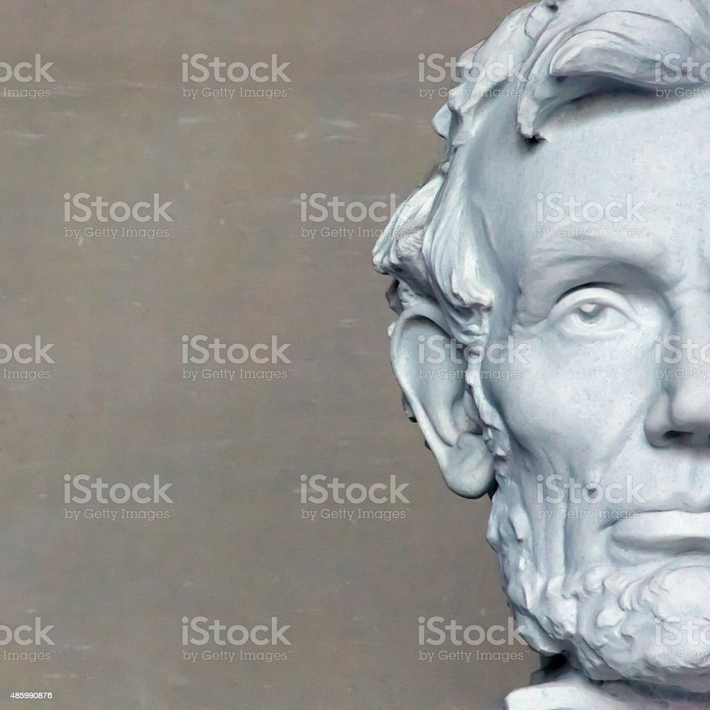 Head of Lincoln in Washington, square composition stock photo