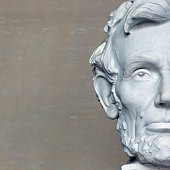 Head of Lincoln in Washington, square composition