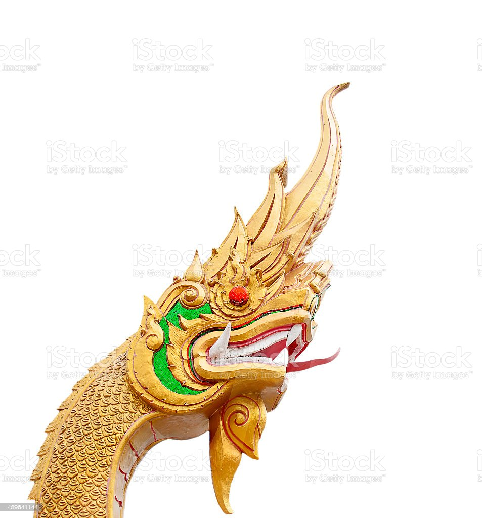Head of Naga statue isolated on white with Clipping Path stock photo