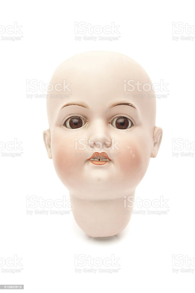 Head of porcelain doll stock photo