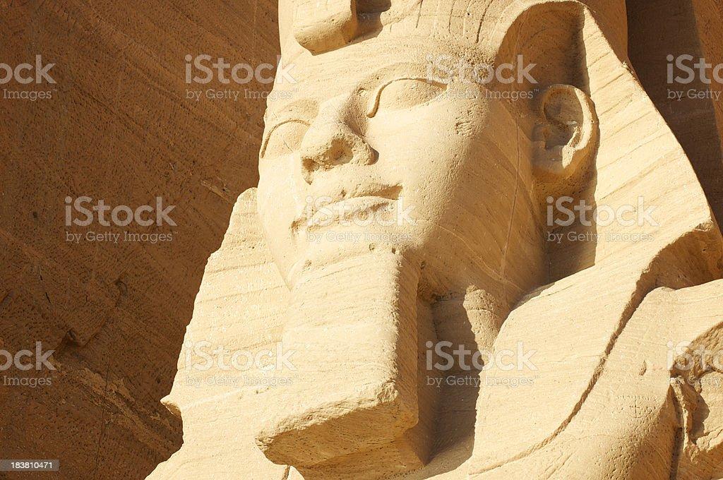 Head of Ramses Sunrise at Abu Simbel Egypt stock photo