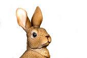 Head of Realistic Rabbit Statue Looking At Camera