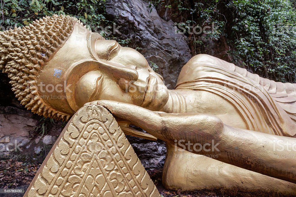 Head of reclining Buddha stock photo