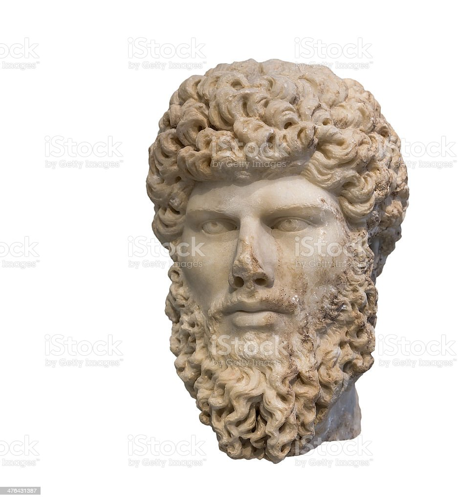 Head of Roman emperor Lucius Verus (Reign 161-169 AD), isolated royalty-free stock photo