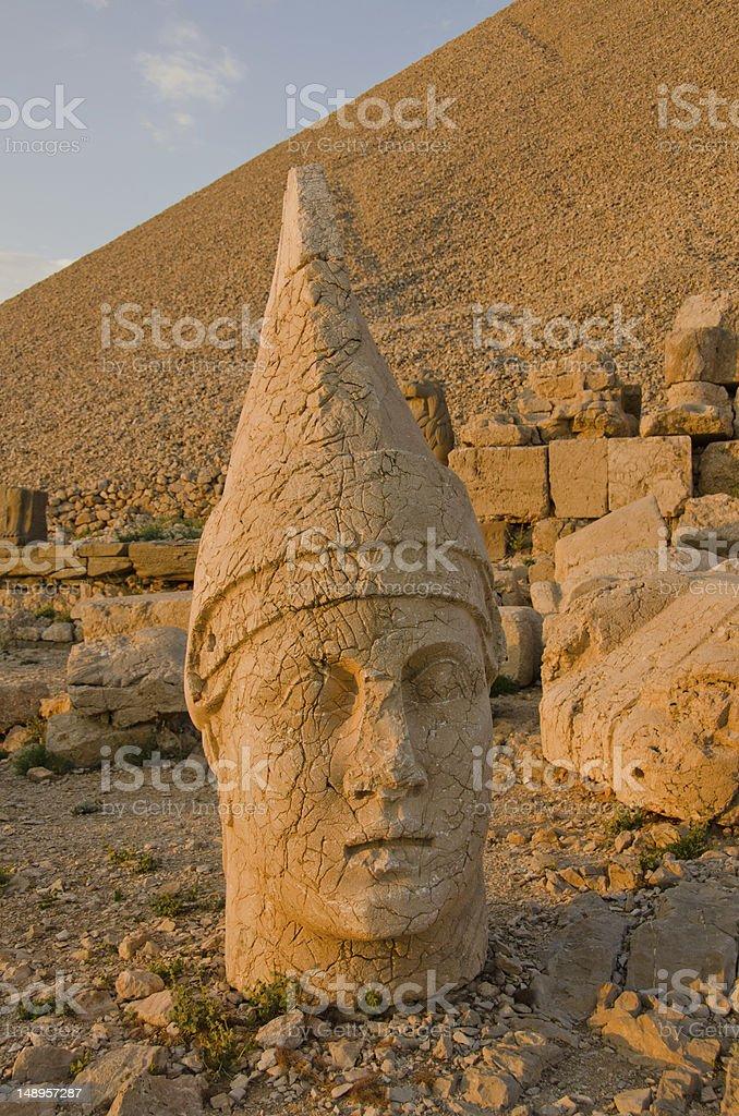 Head of the colossal statue, Mount Nemrut, Turkey royalty-free stock photo