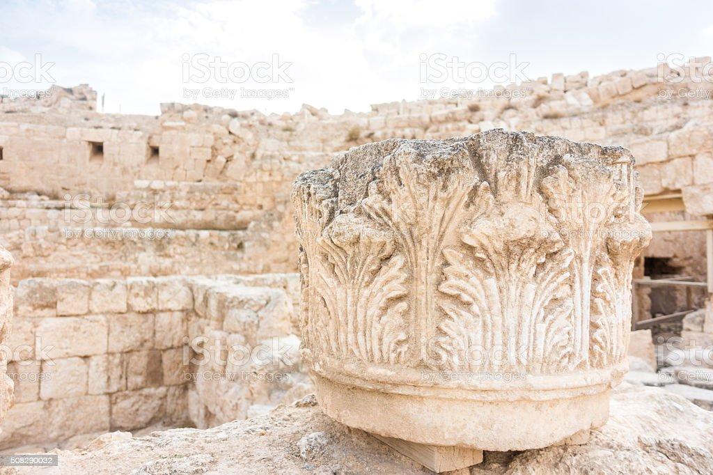 Head of the column in Herodyon National Park, Palestine stock photo