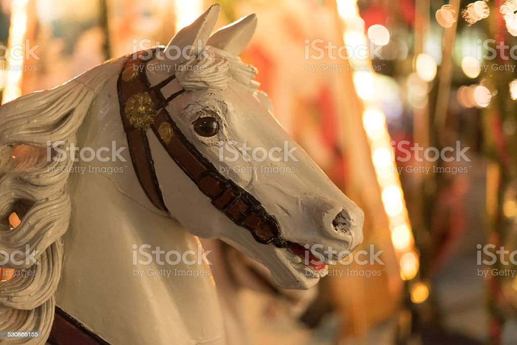 head of white wooden carousel horse stock photo