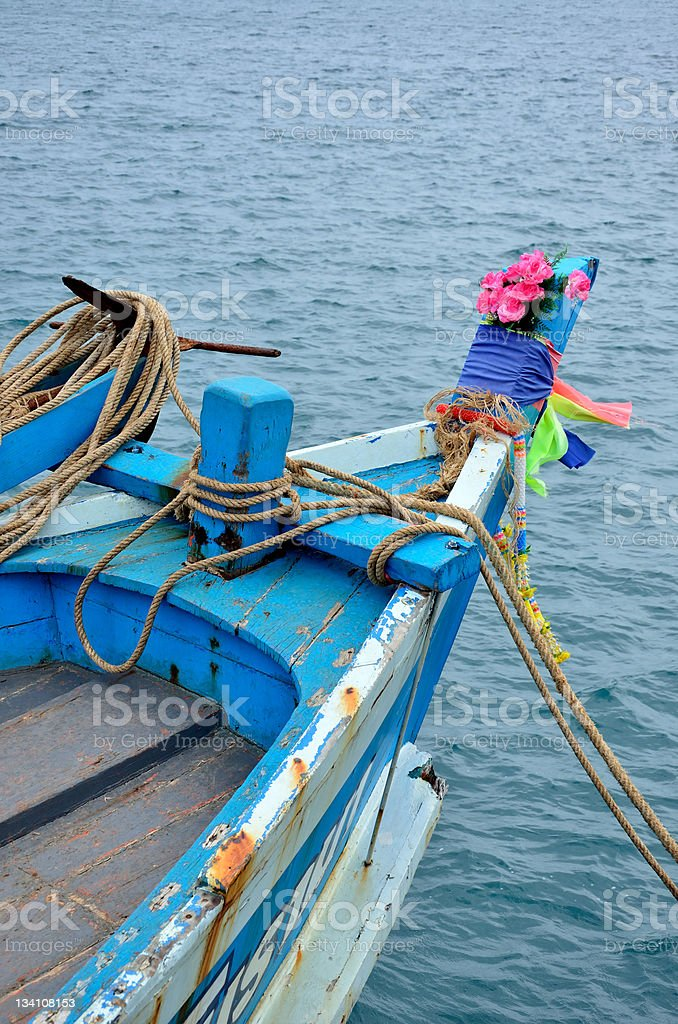 Head of Wooden Fishing Boat royalty-free stock photo