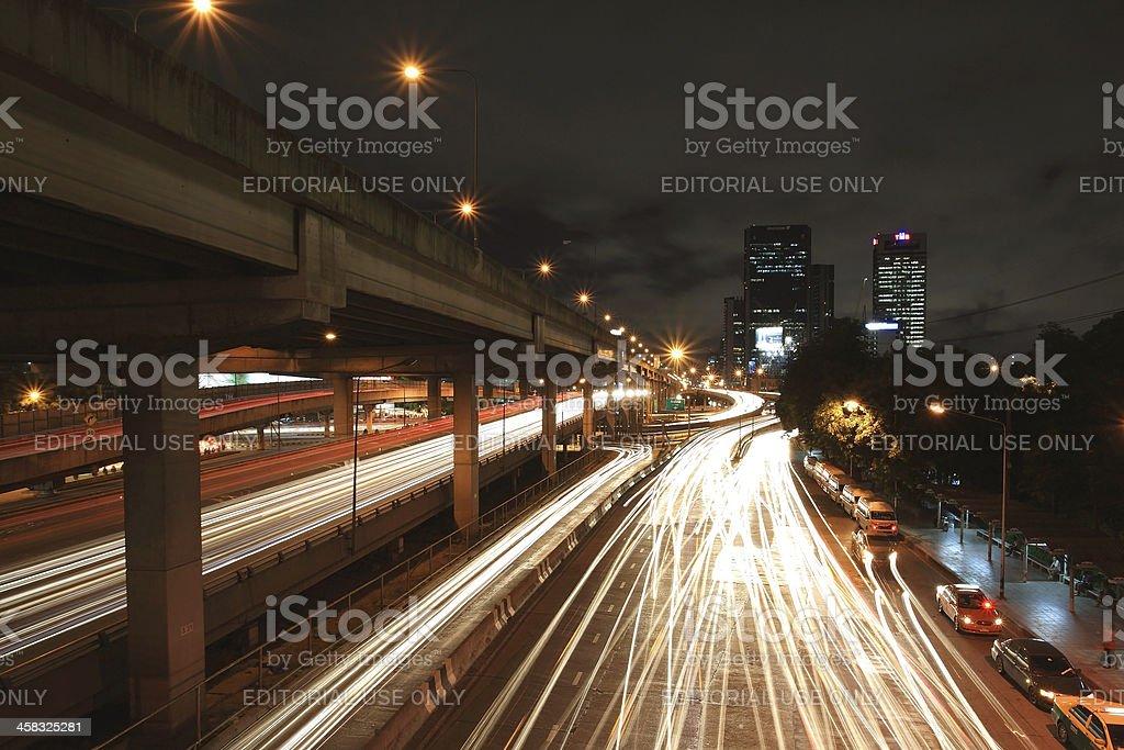 TMB Head office near Ratchadapisek street at night royalty-free stock photo