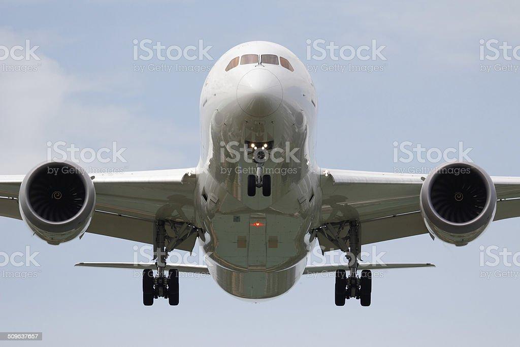 Head on airplane (Boeing 787) stock photo