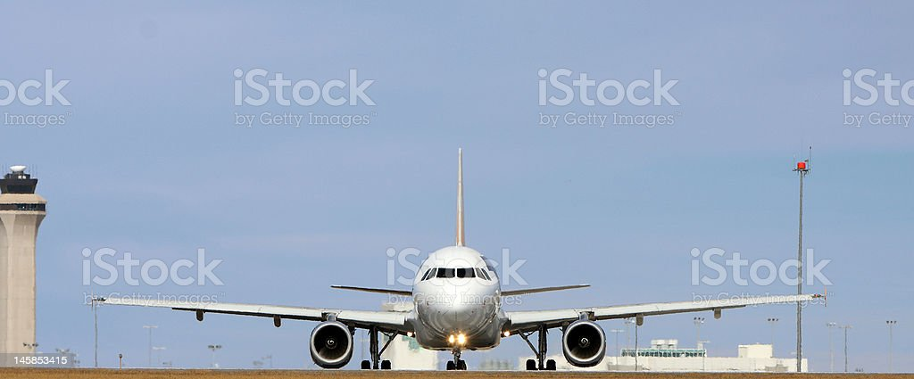 head on commercial jet royalty-free stock photo