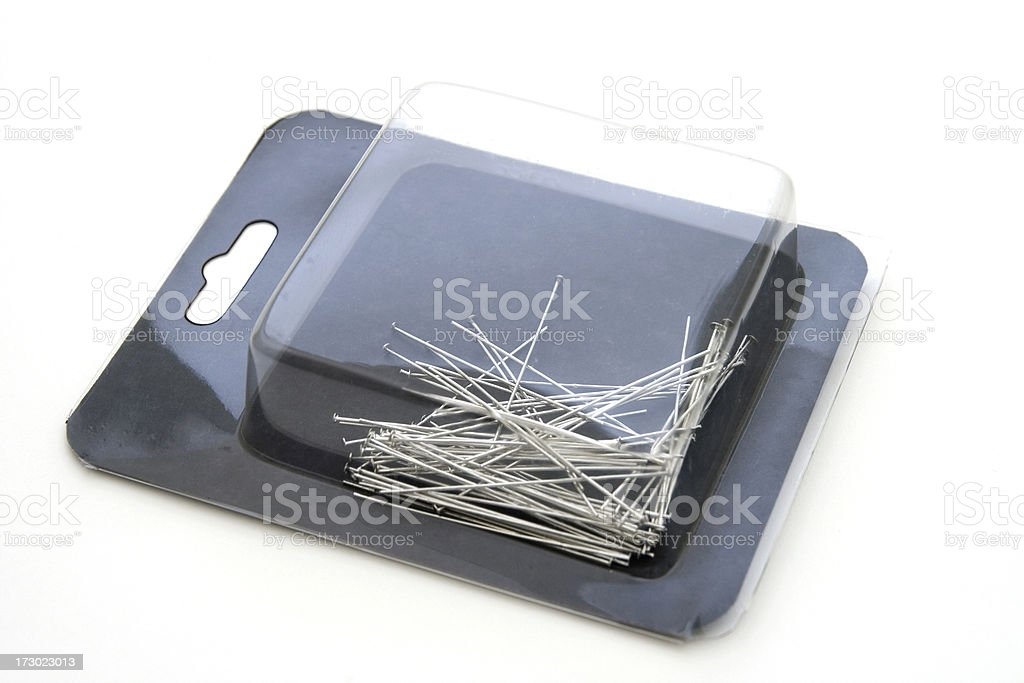 Head Pins in a Container royalty-free stock photo