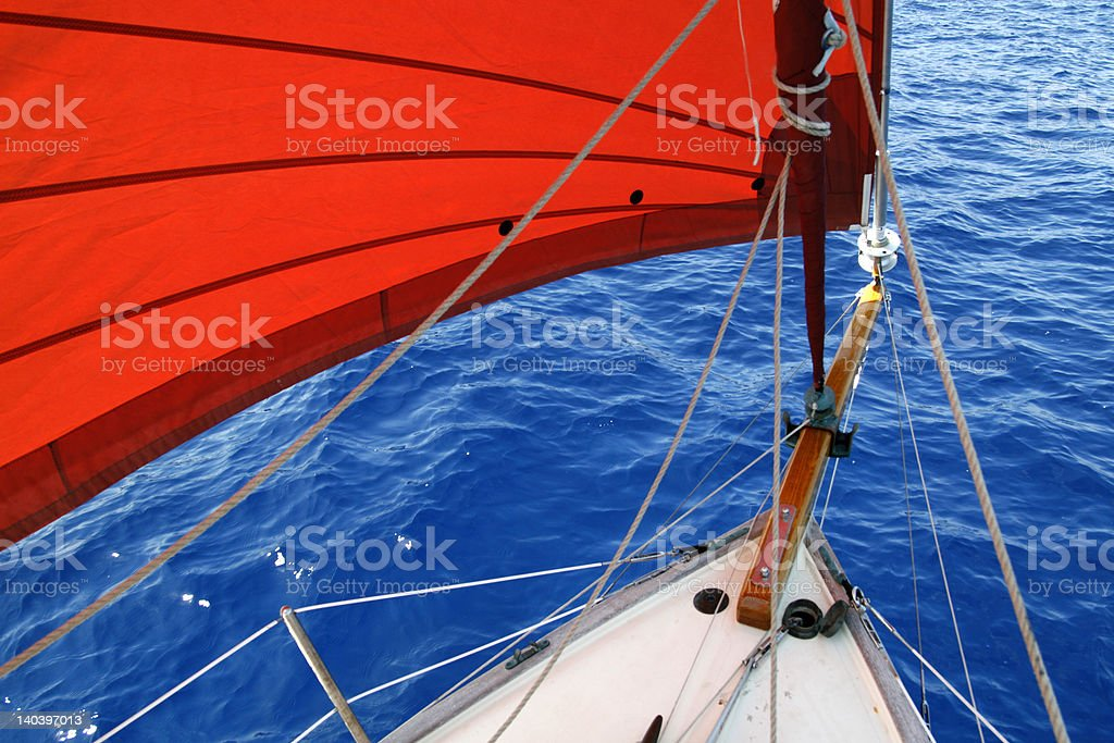 Head sails on a small yacht at sea. stock photo