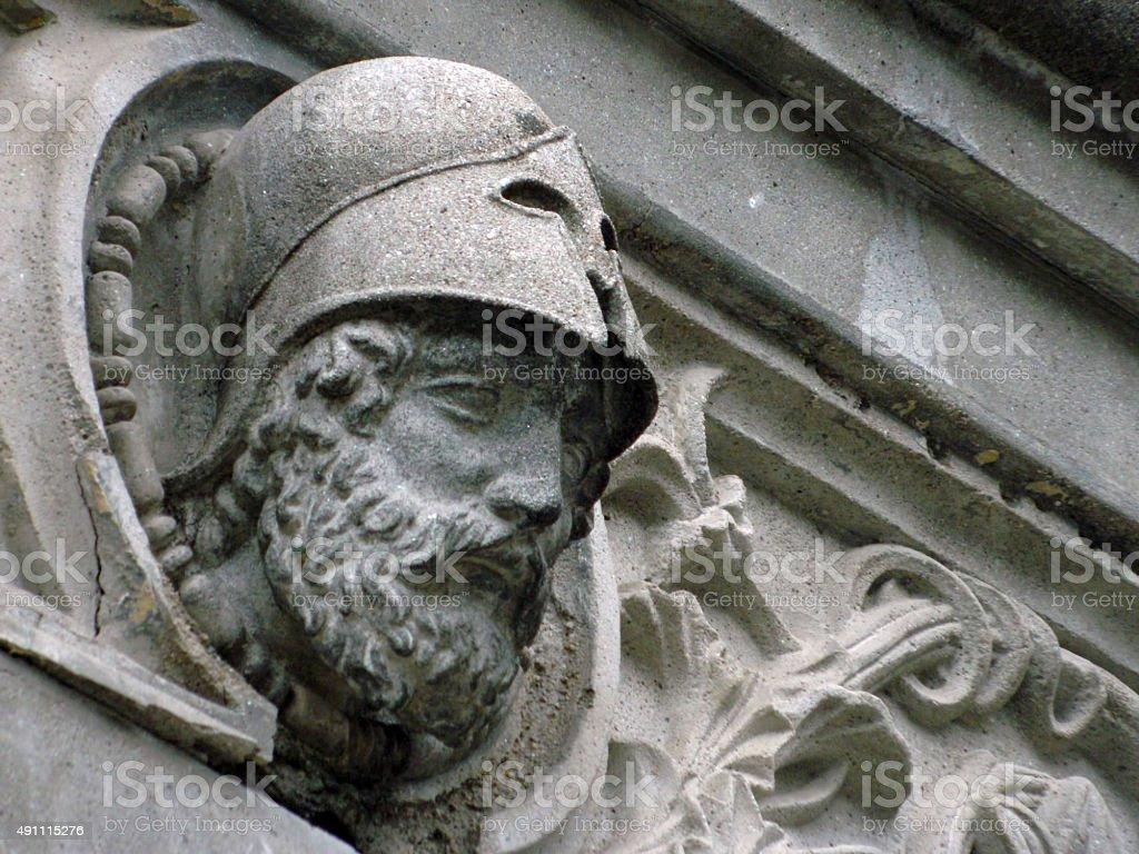 Head sculpture of warrior stock photo