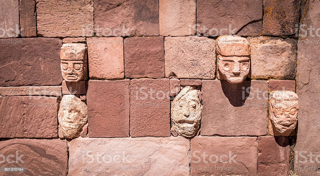 Head sculptures at Tiwanaku archaeological site - Bolivia stock photo