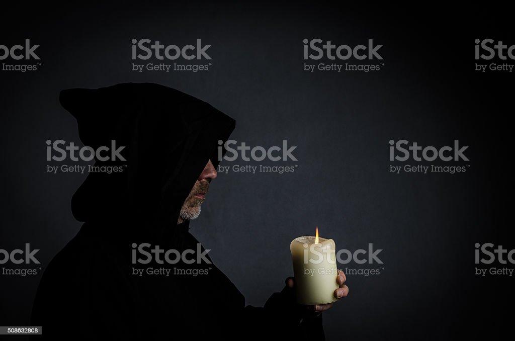 Head shot of a black monk stock photo
